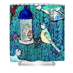 Bird People The Bluetit Family Shower Curtain by Sushila Burgess