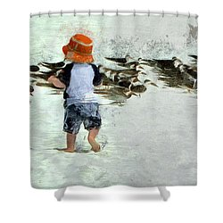 Shower Curtain featuring the photograph Bird Play by Claire Bull