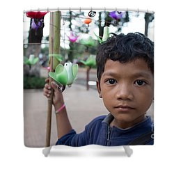 Bird Selling Boy Shower Curtain
