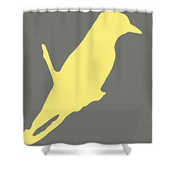 Bird Silhouette Gray Yellow Shower Curtain by Ramona Johnston