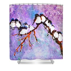 Shower Curtain featuring the painting Bird Snowfall Limited Edition Print 1-25 by Donna Dixon