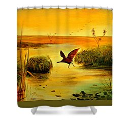 Shower Curtain featuring the painting Bird Water by Henryk Gorecki