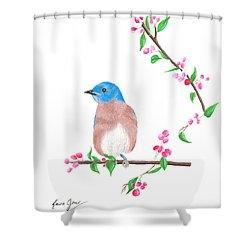 Minimal Bird And Cherry Flowers Shower Curtain