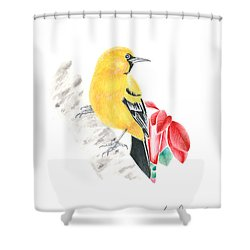 Bird In Yellow Shower Curtain