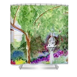 Shower Curtain featuring the painting Birdhouse by Jamie Frier