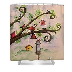 Birdhouses Shower Curtain
