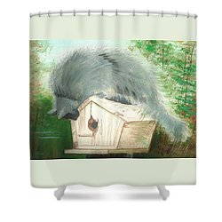 Shower Curtain featuring the painting Birdie In The Hole by Denise Fulmer