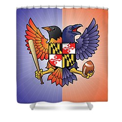 Birdland Baltimore Raven And Oriole Maryland Crest Shower Curtain