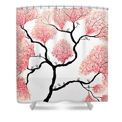 Birds And Flowers Shower Curtain