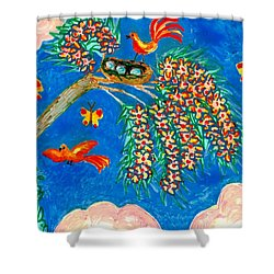 Birds And Nest In Flowering Tree Shower Curtain by Sushila Burgess