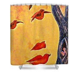 Birds And Tree - Pa Shower Curtain