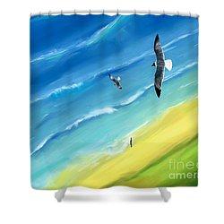 Bird's-eye Above Sea Shower Curtain