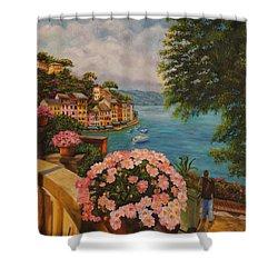 Bird's Eye View Of Portofino Shower Curtain by Charlotte Blanchard