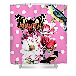 Birds, Flowers Butterflies And Polka Dots Shower Curtain