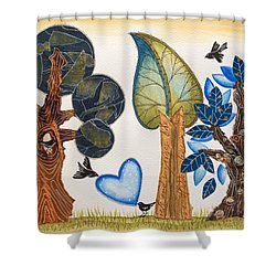 Birds In Love Shower Curtain