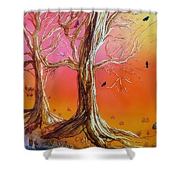 Birds In Trees Shower Curtain