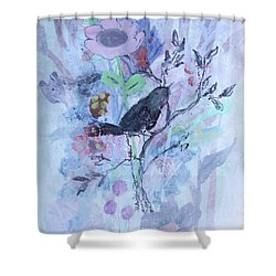 Shower Curtain featuring the painting Birds Just Wanna Have Fun by Robin Maria Pedrero