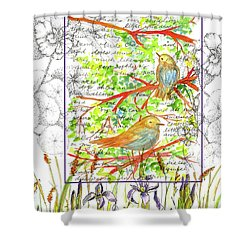 Shower Curtain featuring the painting Bluebirds Nature Collage by Cathie Richardson