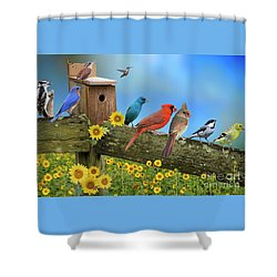 Birds Of A Feather Shower Curtain by Bonnie Barry