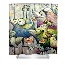 Birds Of A Feather Shower Curtain by Eleatta Diver