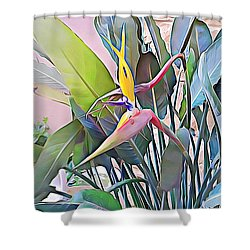 Shower Curtain featuring the mixed media Birds Of Paradise  by Lucia Sirna