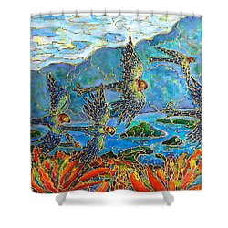Birds Of Paradise Shower Curtain by Rae Chichilnitsky
