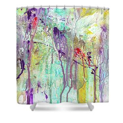 Birds On The Wire - Colorful Bright Modern Abstract Art Painting Shower Curtain