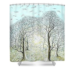 Birds Swirl Shower Curtain by Charles Cater