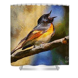 Birdsong Shower Curtain by Elizabeth Coats