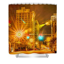 Birmingham Alabama Evening Skyline Shower Curtain by Alex Grichenko