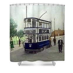 Birmingham Tram With Figures Shower Curtain