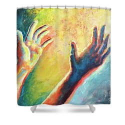 Shower Curtain featuring the painting Birth Of Adam by Lisa DuBois