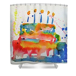 Shower Curtain featuring the painting Birthday Blue Cake by Claire Bull