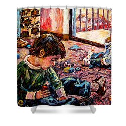 Shower Curtain featuring the painting Birthday Party Or A Childs View by Kendall Kessler
