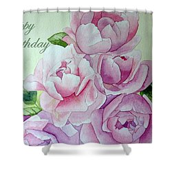Birthday Peonies Shower Curtain