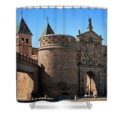 Bisagra Gate Toledo Spain Shower Curtain by Joan Carroll