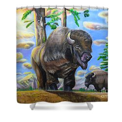 Shower Curtain featuring the painting Bison Acrylic Painting by Thomas J Herring