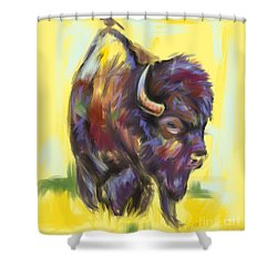 Shower Curtain featuring the painting Bison And Bird by Go Van Kampen