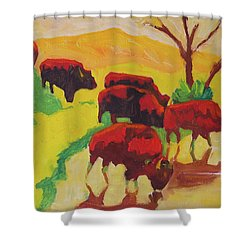 Bison Art Bison Crossing Stream Yellow Hill Painting Bertram Poole Shower Curtain by Thomas Bertram POOLE