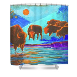 Bison Art - Seven Bison At Sunrise Yosemite Painting T Bertram Poole Shower Curtain by Thomas Bertram POOLE