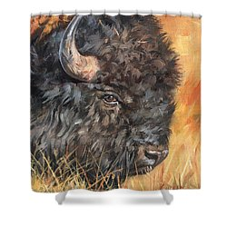 Shower Curtain featuring the painting Bison by David Stribbling