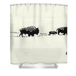 Bison Family Shower Curtain by Eric Tressler