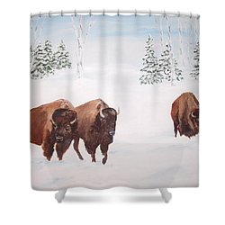 Shower Curtain featuring the painting Bison In The Snow by Ellen Canfield