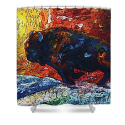 Bison Running Print Of Olena Art Wild The Storm Oil Painting With Palette Knife  Shower Curtain