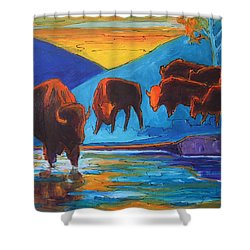 Bison Turquoise Hill Sunset Acrylic And Ink Painting Bertram Poole Shower Curtain by Thomas Bertram POOLE