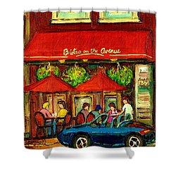 Bistro On Greene Avenue In Montreal Shower Curtain by Carole Spandau