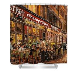 Bistrot Champollion Shower Curtain by Guido Borelli