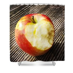 Bitten Red Apple Shower Curtain