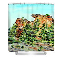 Bitterroot Cliffs Shower Curtain by Tracy Rose Moyers