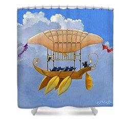 Bizarre Feline-powered Airship Shower Curtain by John Deecken
